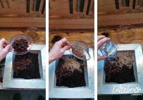 Etape 2 - Fabriquer son kokédama soi-même, explications  - Plante enrobée dans de la mousse qui forme une sphère parfaite