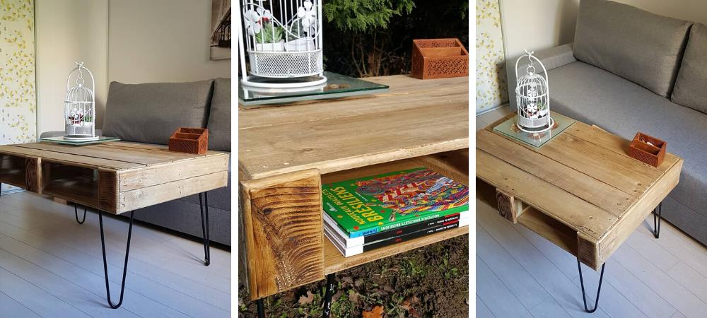Fabriquer Une Table Basse En Palettes Avec Finition Bois Brule L Atelier By Brico Prive